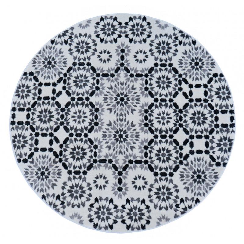 tapis tanger noir et blanc rond. Black Bedroom Furniture Sets. Home Design Ideas